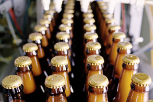 bottles on a conveyor