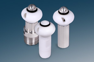 Teflon mini-spinner vessel cleaning nozzles